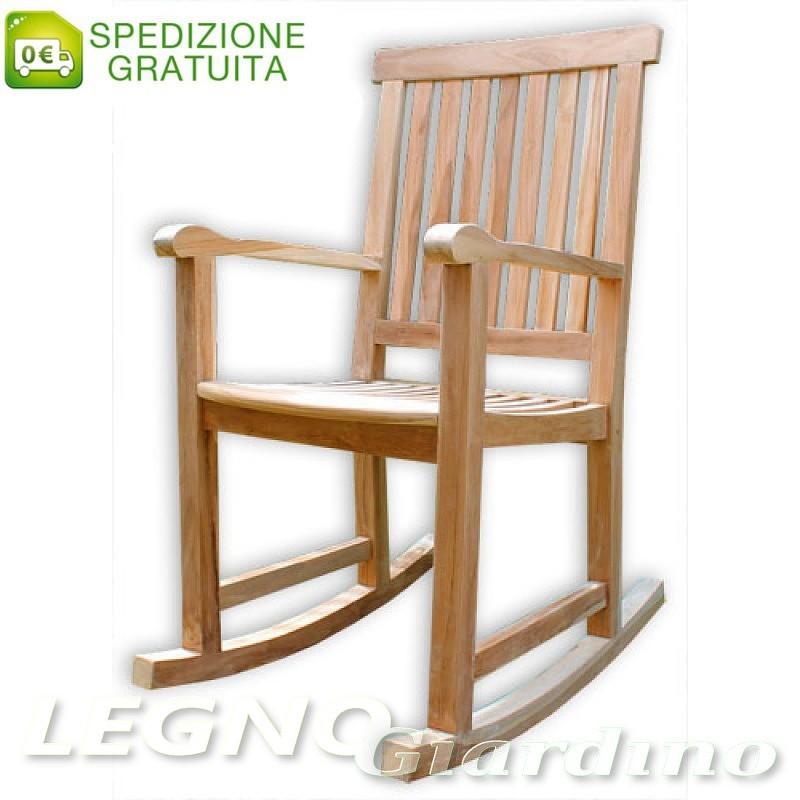 Dondolo In Teak.Sedia A Dondolo In Legno Teak Con Braccioli Modello Leon