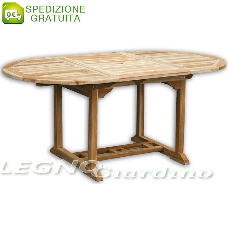 Tavolo ovale allungabile da giardino 120-180x100 in legno Teak