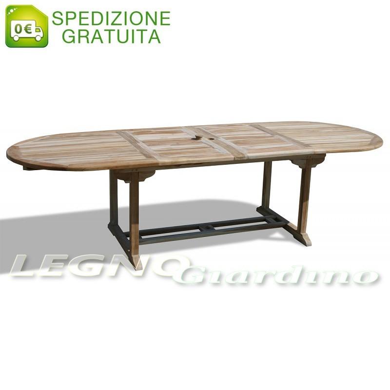Tavolo ovale allungabile da giardino in legno Teak 180-230-280x100