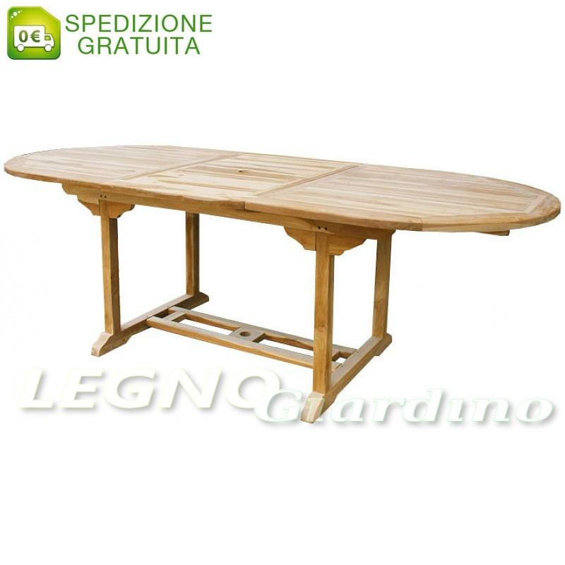 Tavoli Da Giardino In Teak.Tavolo Ovale Allungabile Da Giardino In Legno Teak 170 230