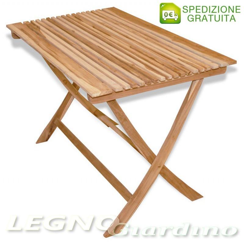 Tavolo 140x70 in legno teak pieghevole - Tavolo in legno pieghevole ...