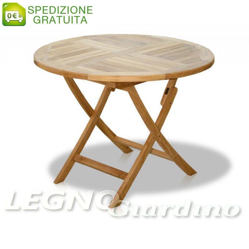 Tavolo Circolare Pieghevole In Legno Teak 100x100
