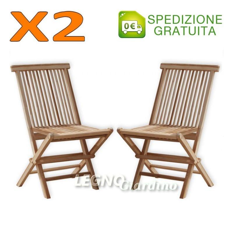 Sedia in legno teak senza braccioli coppia