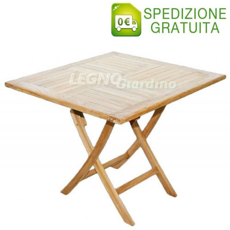 Tavolo in legno teak pieghevole 80x80