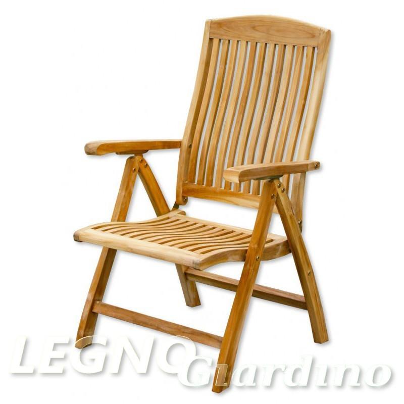 Sedia A Dondolo Teak.Sedia In Legno Teak Modello Orlando Con Braccioli E Schienale Regolabile
